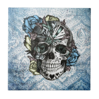 Grunge Candy sugar skull in blue yellow and pink. Small Square Tile
