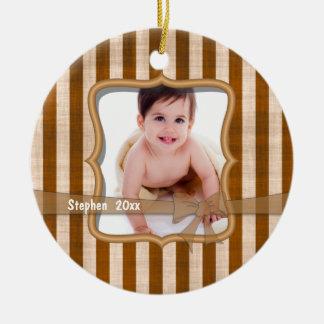 Grunge Caramel Stripe Keepsake Photo Ornament
