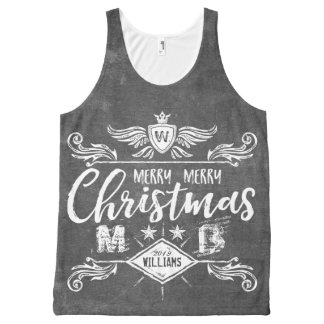 Grunge Chalkboard Merry Christmas Retro Typography All-Over Print Tank Top