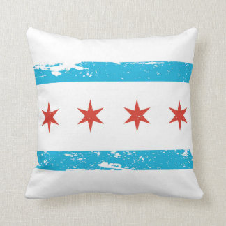 Grunge Chicago Flag Cushion