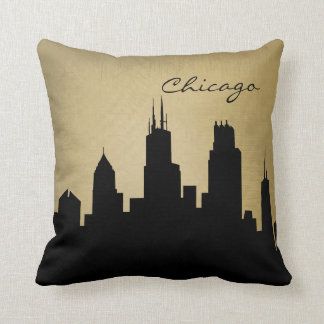 Grunge Chicago Skyline Landmark Cushion