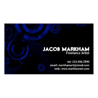 Grunge Circles - Blue Double-Sided Standard Business Cards (Pack Of 100)