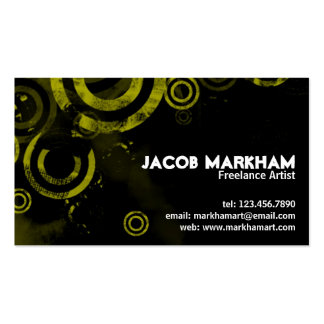 Grunge Circles - Yellow Double-Sided Standard Business Cards (Pack Of 100)