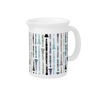 Grunge Clarinets - Blue and Gray Beverage Pitcher