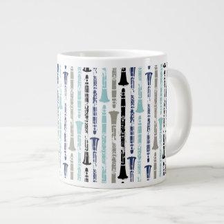Grunge Clarinets - Blue and Gray Jumbo Mug