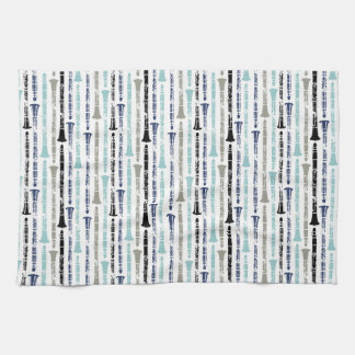 Grunge Clarinets - Blue and Gray Kitchen Towels