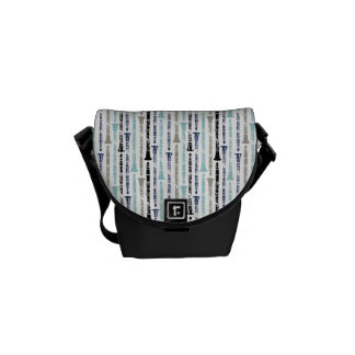 Grunge Clarinets - Blue and Gray Messenger Bags