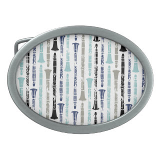 Grunge Clarinets - Blue and Gray Oval Belt Buckles