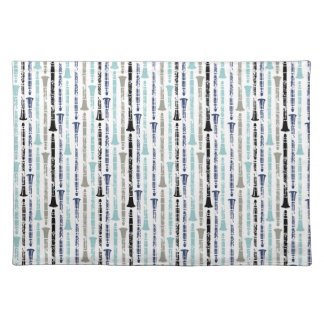 Grunge Clarinets - Blue and Gray Place Mat