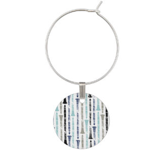 Grunge Clarinets - Blue and Gray Wine Charms