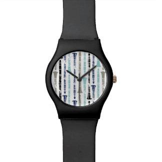 Grunge Clarinets - Blue and Gray Wristwatch