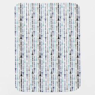 Grunge Clarinets - Blue and Grey Baby Blankets