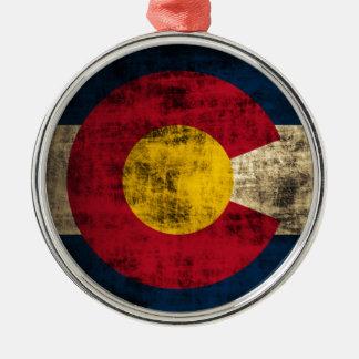 Grunge Colorado Flag Christmas Ornament