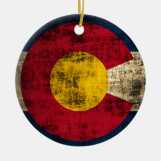 Grunge Colorado Flag Christmas Ornament