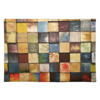 Grunge Colorful Painted Squares Design Placemat