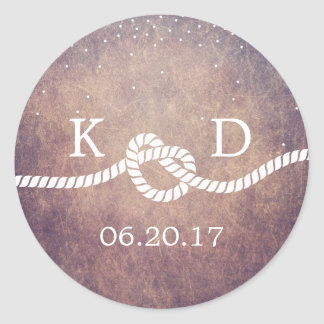 Grunge Confetti Dots Tying the Knot Wedding Favor Round Sticker