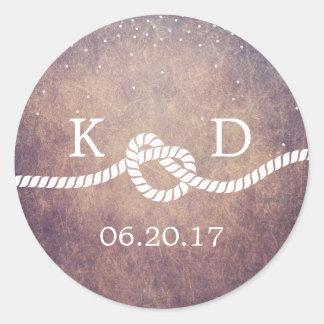 Grunge Confetti Dots Tying the Knot Wedding Favor Round Sticker