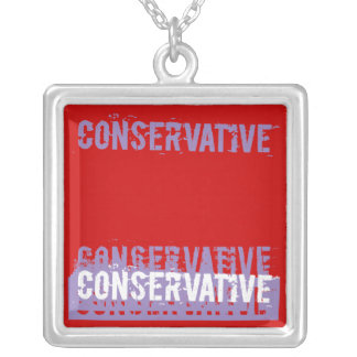 Grunge Conservative Square Pendant Necklace
