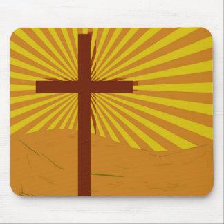 grunge cross sunburst mouse pad