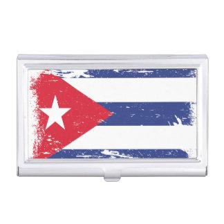 Grunge Cuba Flag Business Card Holder