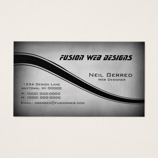 Grunge Curves Business Card, Grey Business Card