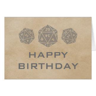 Grunge D20 Dice Gamer Birthday Card, Gray Card