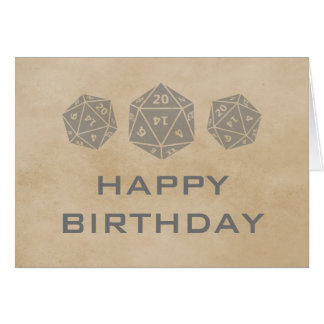 Grunge D20 Dice Gamer Birthday Card, Gray Greeting Card