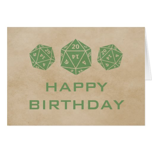 Grunge D20 Dice Gamer Birthday Card, Green