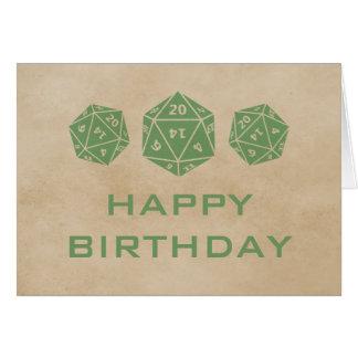 Grunge D20 Dice Gamer Birthday Card, Green Greeting Card