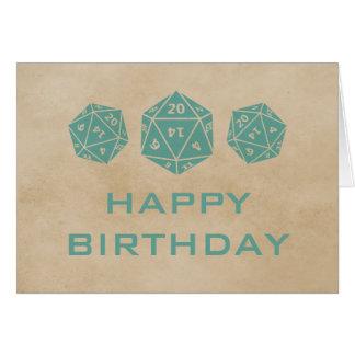 Grunge D20 Dice Gamer Birthday Card, Teal Greeting Card