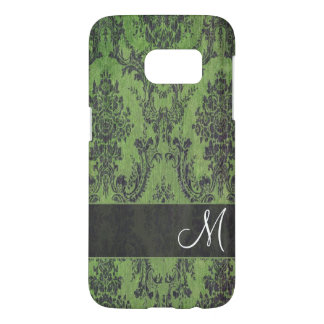Grunge Damask Pattern on Galaxy with Monogram