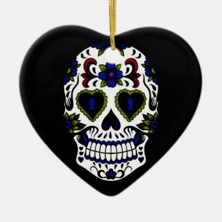 Grunge Day of the Dead Blue & Red Ceramic Heart Decoration