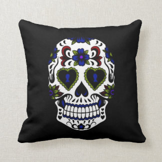 Grunge Day of the Dead Blue & Red Cushion