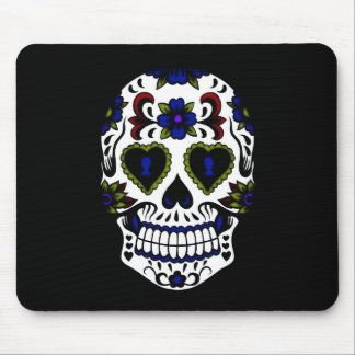 Grunge Day of the Dead Blue & Red Mouse Mat