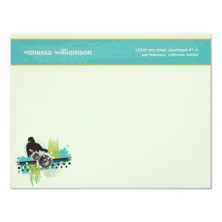 Grunge DJ Custom Flat Note Cards (aqua) 11 Cm X 14 Cm Invitation Card