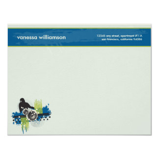 Grunge DJ Custom Flat Note Cards (blue) 11 Cm X 14 Cm Invitation Card