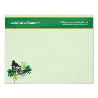 Grunge DJ Custom Flat Note Cards (green) 11 Cm X 14 Cm Invitation Card