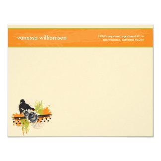 Grunge DJ Custom Flat Note Cards (orange) 11 Cm X 14 Cm Invitation Card