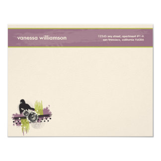 Grunge DJ Custom Flat Note Cards (purple) 11 Cm X 14 Cm Invitation Card
