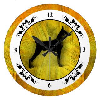 Grunge Doberman Pinscher Silhouette Wall Clocks