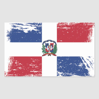 Grunge Dominican Republic Flag Rectangular Sticker