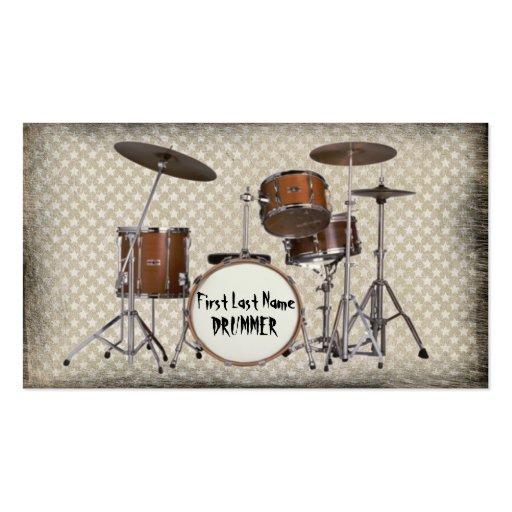 Grunge drummer custom musician cards business card