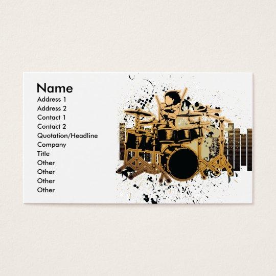 grunge drummer design business card