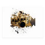 grunge drummer design postcard