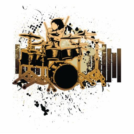 grunge drummer design standing photo sculpture