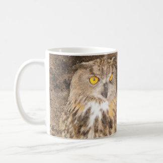 Grunge Eagle Owl Golden Eyes Coffee Mug