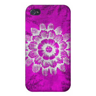 Grunge Eastern Flower on Pink Background Cases For iPhone 4