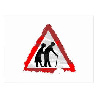 Grunge Elderly People Sign Postcard