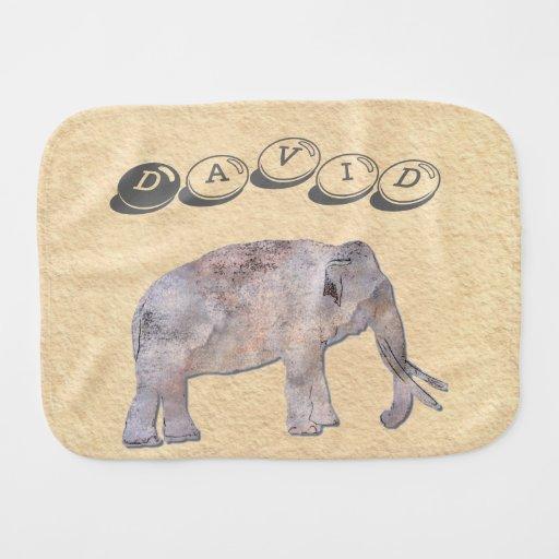 Grunge Elephant Baby Burp Cloths