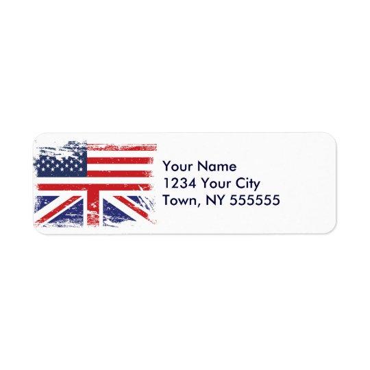 Grunge English American Flag 2 Return Address Label